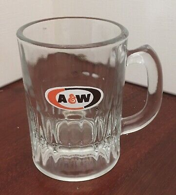 GENUINE VINTAGE GLASS A&W ROOT BEER MINI MUG 4 OZ A & W