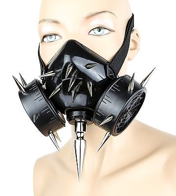 Gas Mask Spike Respirator Halloween Punk Cosplay Cyber Goth Rave Burning man - Gothic Gas Mask