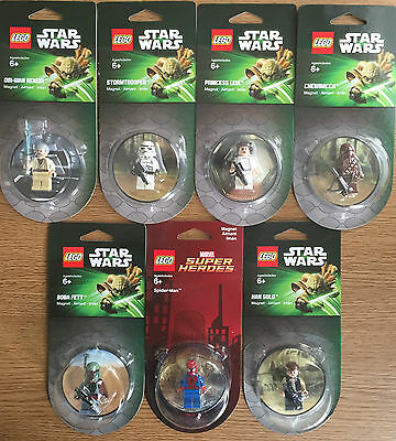 Official Star Wars and Marvel LEGO Fridge Magnets Rare mini figures retired