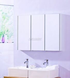 foxhunter triple 3 door wall mount mirror bathroom cabinet storage steel mc01