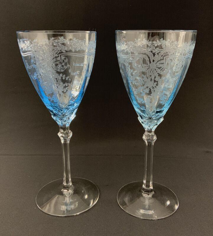 "Fostoria JUNE BLUE Azure Blue Glass Water Goblets 8 1/4"" Etched CHIP EACH (S/2)"