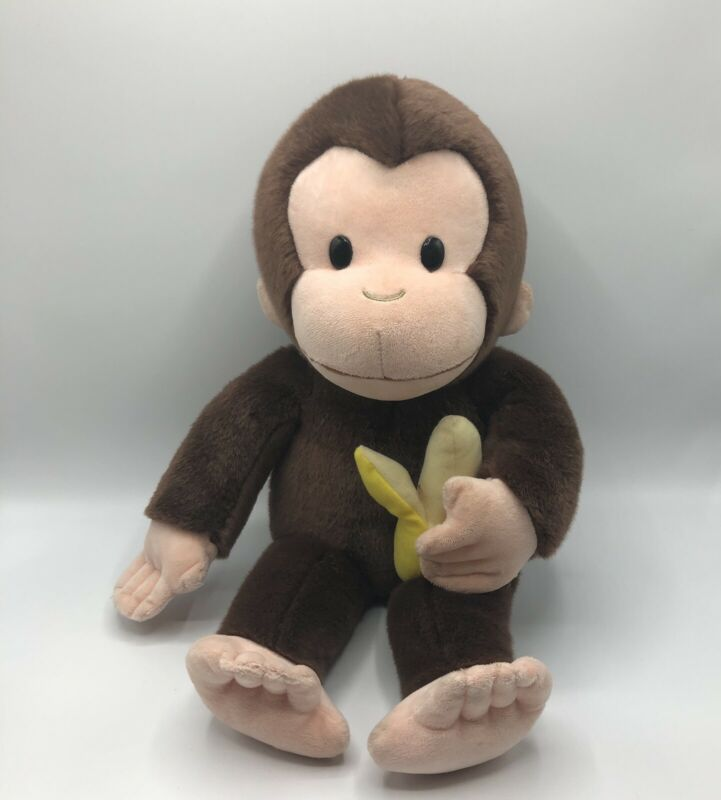 "GUND Curious George with Banana Plush Stuffed Animal 20"" Brown Retired"