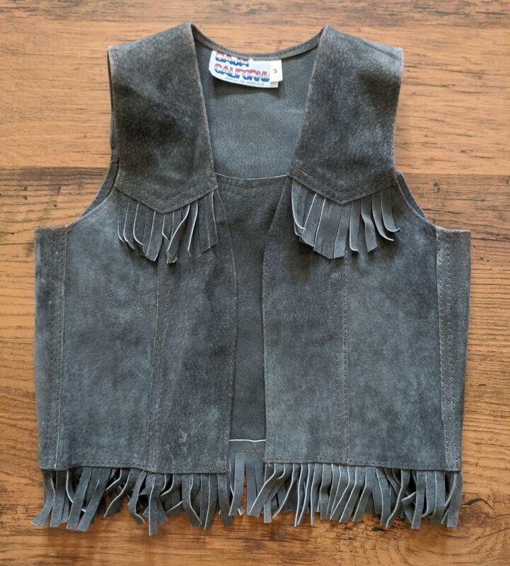 VTG 70s Childrens Leather Suede Vest Western Cowboy Fringe Grey Boy Girl Size S