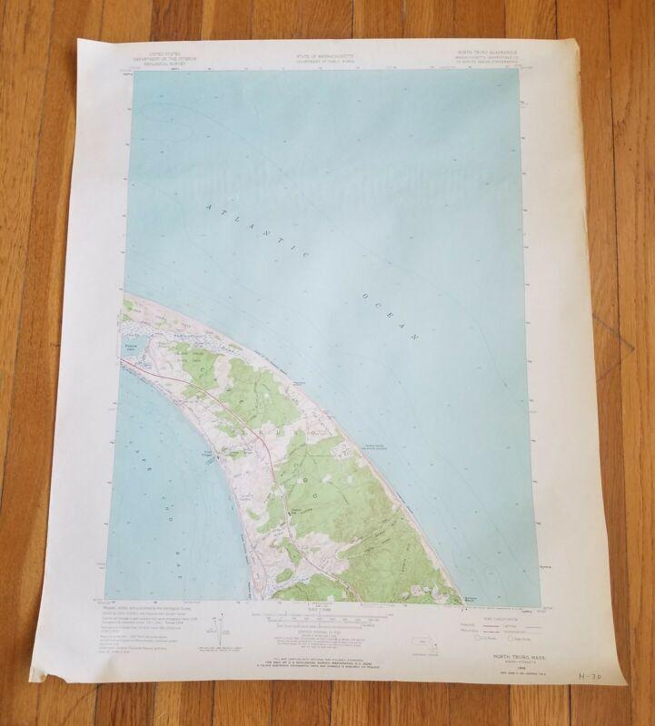 "Vintage 1958 NORTH TRURO Cape Cod Mass US Geological Survey Map 22""x 27"""