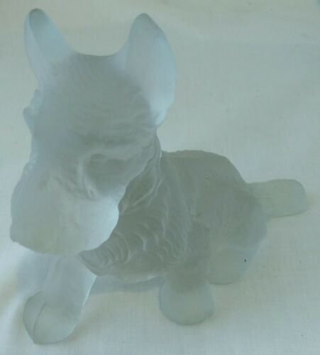 Vintage Satin Frosted Scotty / Scottie Sitting Dog Figurine