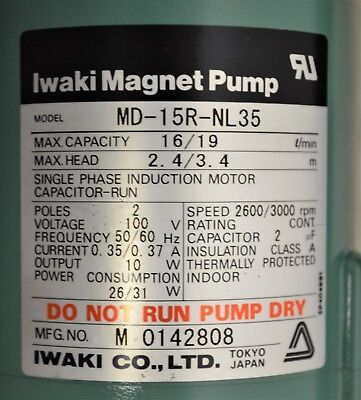 New Iwaki Magnet Pump Md-15r-nl35 1619 Lmin W 12 Hose Connections Quantity