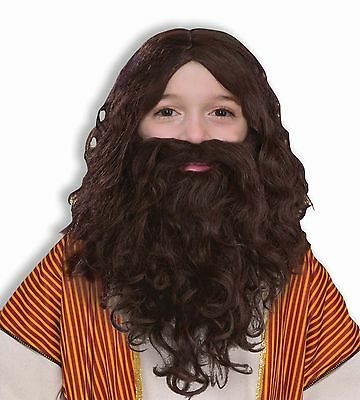 Kids Jesus Costume Wig Beard Moustache Mustache Brown Hair Boys Childs Children](Kids Mustache)