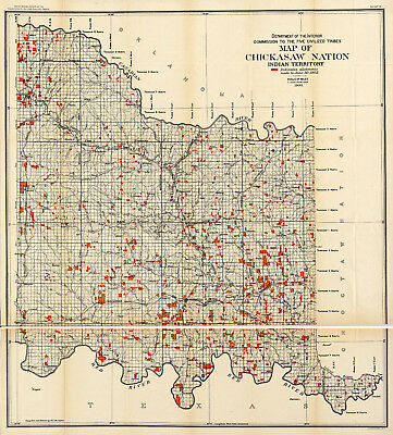 1900 Map of Chickasaw Nation, Indian territory American Indian Wall Art Poster