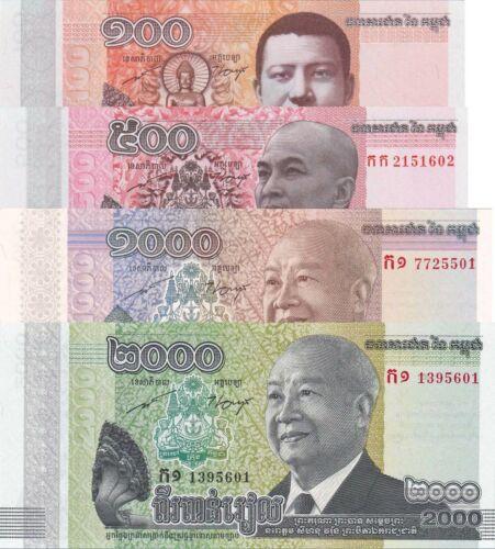 Cambodia 4 Note Set: 100 to 2000 Riels (2014) - p65, p66, p63 & p64 UNC