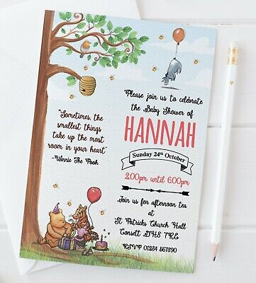 10 Personalised Classic Winnie The Pooh Baby Shower Invitations Invites + Envs - Personalized Winnie The Pooh Baby Shower Invitations