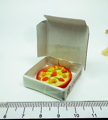 1:12th Scale Pizza Box & Pizza Dolls House Miniature Food Kitchen Shop Accessory