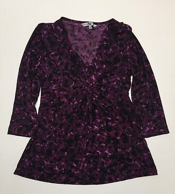 Ladies Poly Spandex 3/4 Sleeves Knot Front V Neck Top Blouse XS-S-M-L-XL NWT