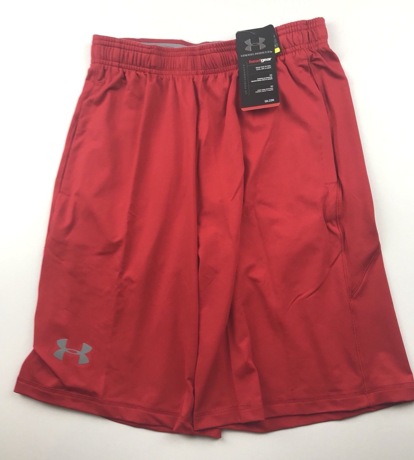 "Under Armour Mens Medium Raid 10"" Red Pocketed Heatgear Trai"