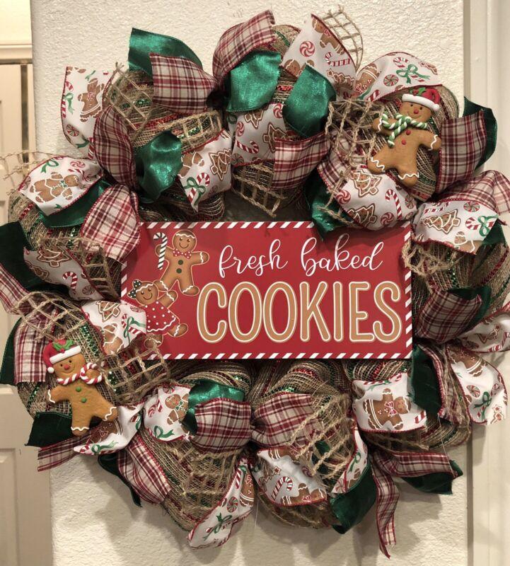 FARMHOUSE GINGERBREAD 🎄 Deco Mesh CHRISTMAS WREATH Whimsical PLAID Cookies