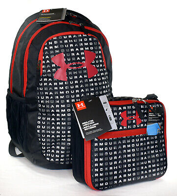New Under Armour Scrimmage 2.0 Laptop Backpack and Lunch Box Set -- Black/Red