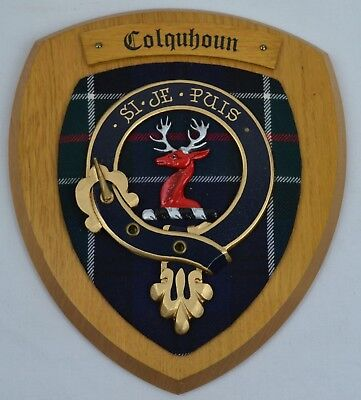 Vintage Scottish Carved Wood COLQUHOUN Clan Modern Tartan Plaque Crest Shield