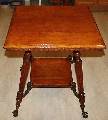 Antique Wood Parlor Table with Claw Feet & Metal Gargoyles - Gargoyle Feet