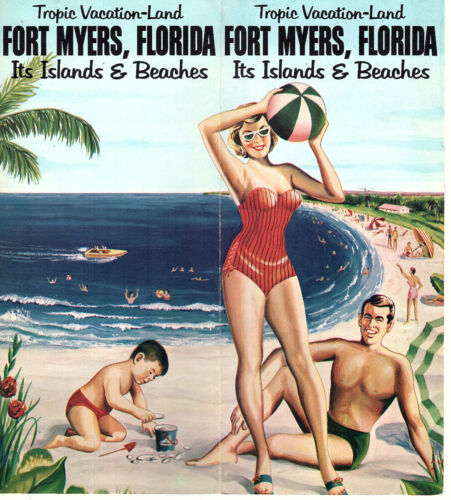 Fort Myers FL Islands & Beaches Vitge Travel Brochure Color Photos Keyed Map