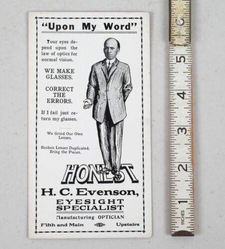 Vintage Ink Blotter Honest H.C. Evenson Optician La Crosse Wisconsin Eye Care