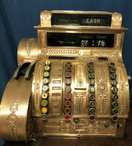Vintage 1909 Brass National Cash Register