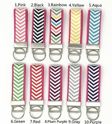 Wave and Hot Pink Webbing Mini Key Fob with key ring (Hot Pink Chevron)
