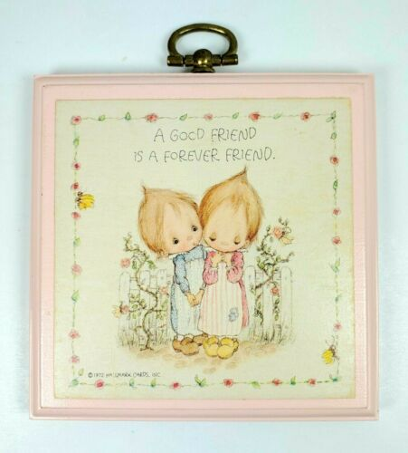 """Hallmark Betsey Clark Small Plaque A Good Friend Is A Forever Friend 3 1/2"""" 1972"""