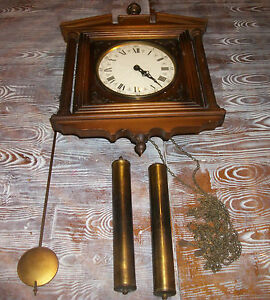 Antique Wooden E Schmeckenbecher H 65 Wall Clock With