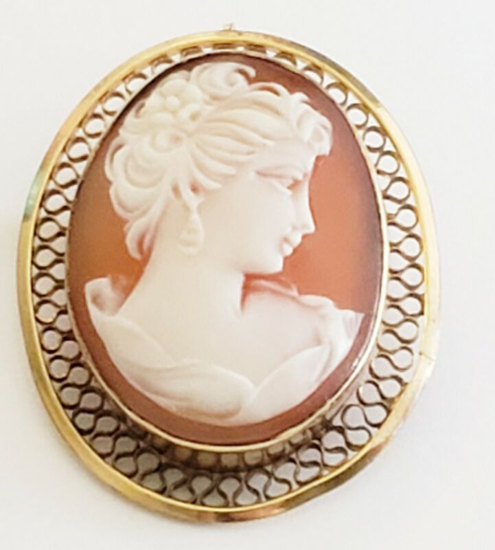 DANECRAFT 1/20 12K GOLD FILLED SHELL CARVED CAMEO PIN PENDANT
