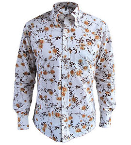 Mens Cream Brown Retro Floral Button Down Collar Tailored