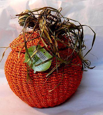 Woven Sisal Twine PUMPKIN BASKET w LID - DECOR - Fall  HALLOWEEN  - Pumpkin Basket
