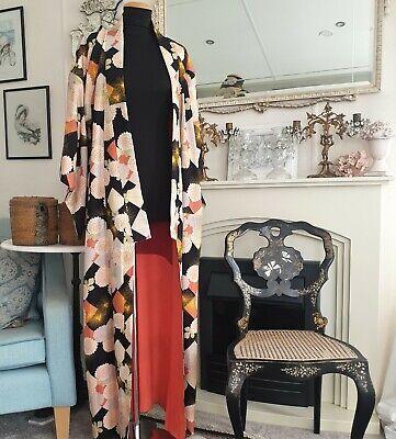 Vintage 1930's Japanese Kimono Robe Silk Blend  Crepe Bloomsbury Style GVC