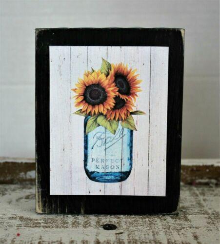 Sunflowers In A Mason Jar Farmhouse Wooden Sign Block Shelf Sitter 3.5X4.5