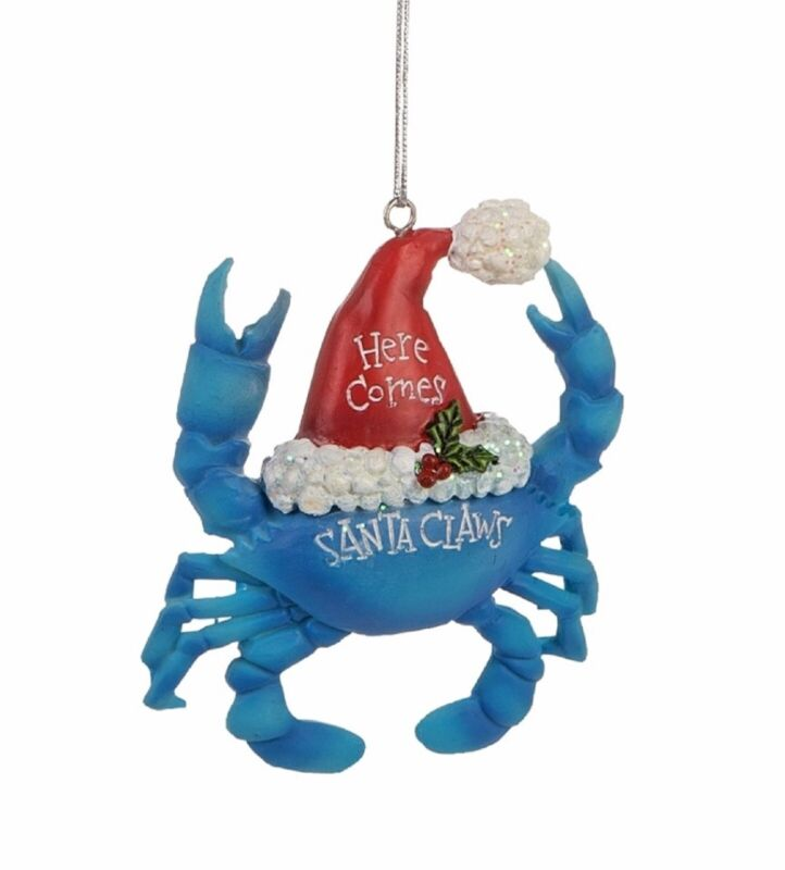 Here Comes Santa Claws Blue Crab Christmas Holiday Ornament Resin