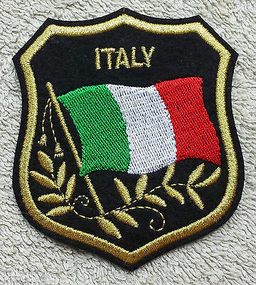 ITALY FLAG IN SHIELD PATCH Embroidered Badge 7 x 8cm Italian Italia Iron Sew on