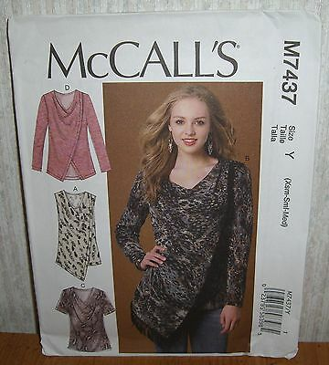 Womens/Misses Pullover Tops Tunics Sewing Pattern/McCall's M7437/SZ XS-M/UCN