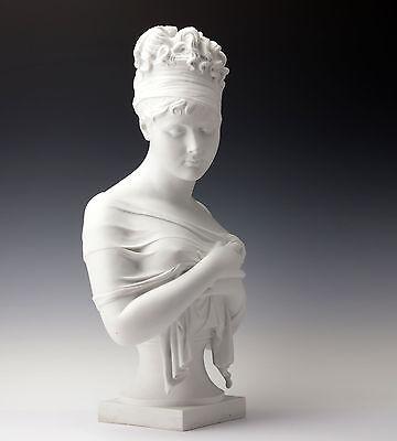 Jean Antoine Houdon große Büste Madame Recamier Biskuitporzellan Frankreich 1890