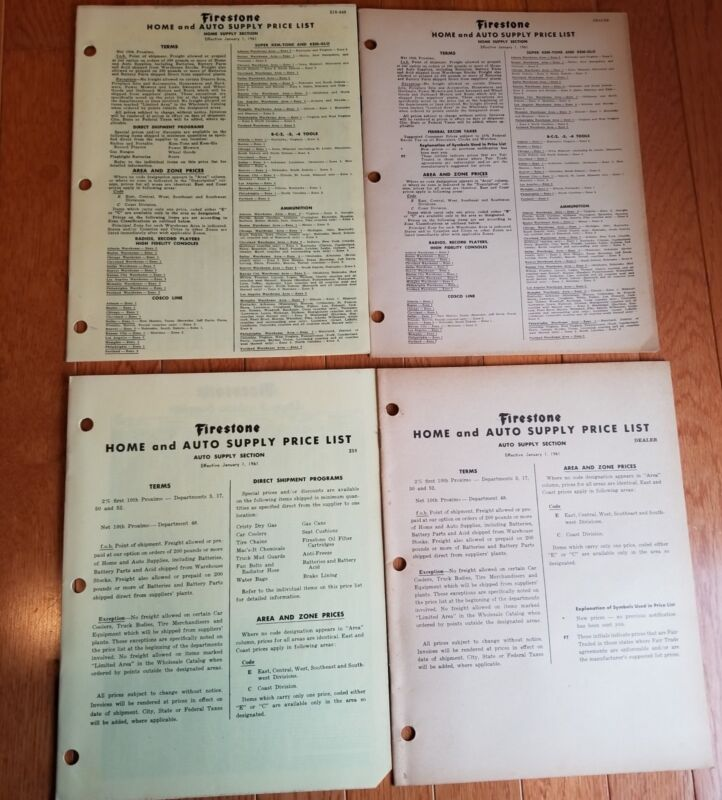 VINTAGE FIRESTONE HOME AND AUTO SUPPLY PRICE LIST 1961 INCLUDES DEALER LIST