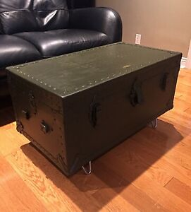 Antique Army Trunk - Green -  Coffee Table REDUCED PRICE