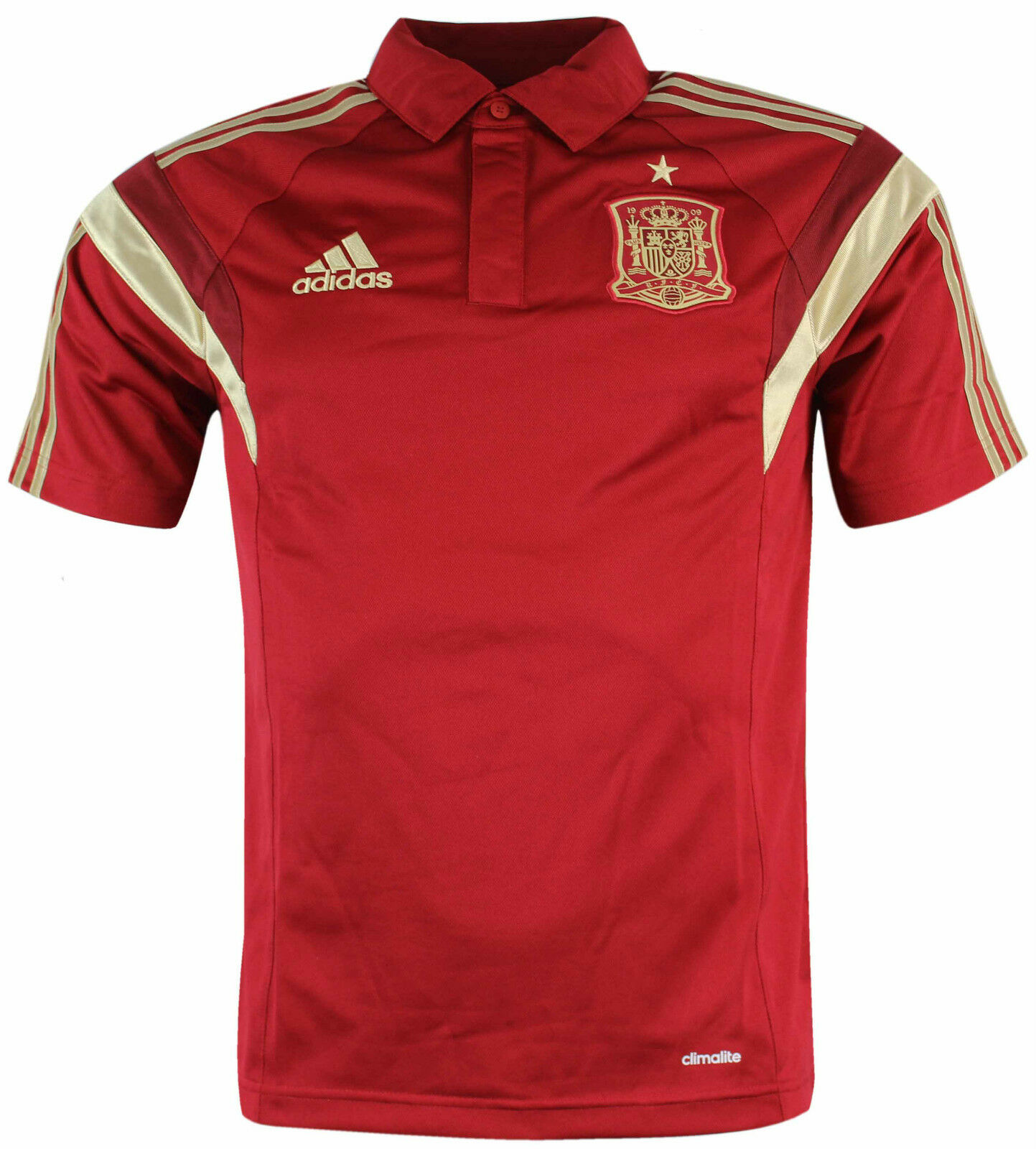 Adidas fef climalite spain polo shirt red top casual for Spain polo shirt 2014