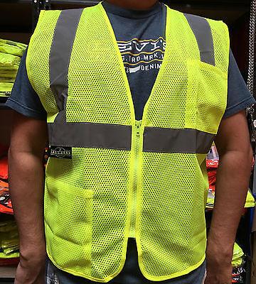 Radians 2 Pockets Green Mesh High Visibility Safety Vest Ansi Isea 107-2015