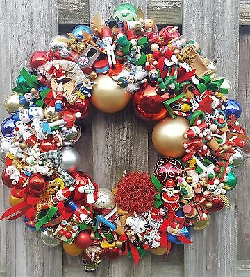 "Vintage Nostalgic Wood Glass Ornament 24"" Christmas Holiday Wreath Hand Crafted"