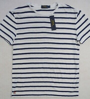 Polo Ralph Lauren TShirt White with Navy Stripe Tee Shirt Size M & L NWT