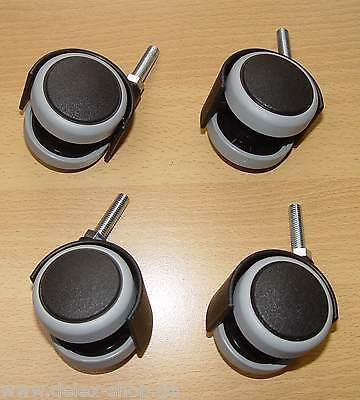 4 x Möbelrolle 50mm Hartbodenrolle Gummi weich Gewinde M 8 x 30 mm extra Lang