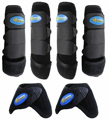 Professional Equine Horse Sports Medicine Splint Boots & Bell Boots Combo (Sports Medicine Combo Boot)