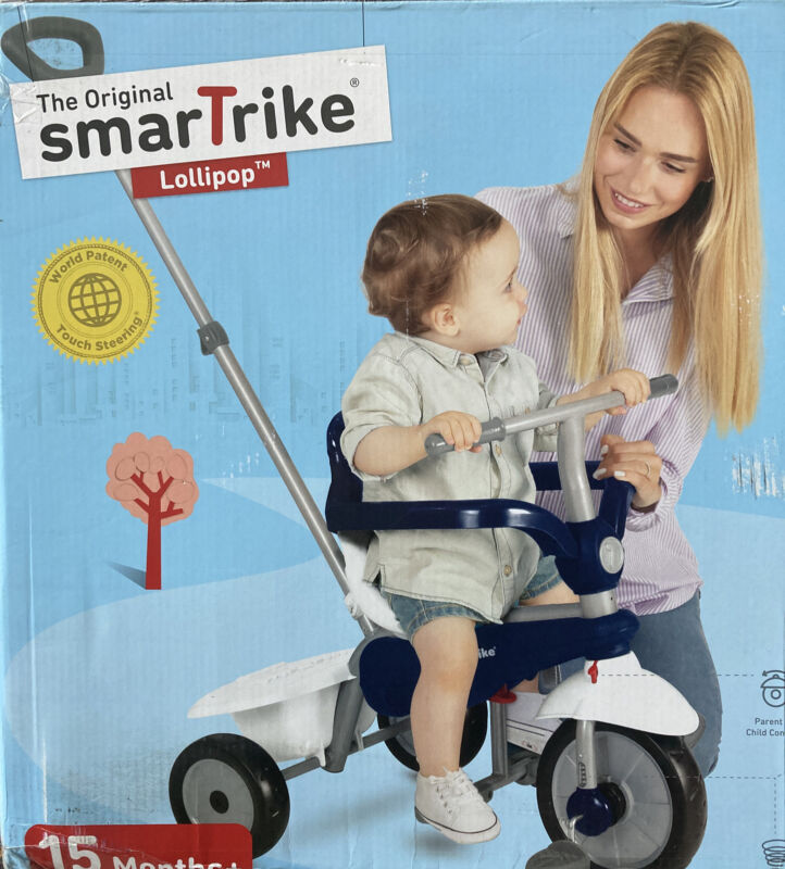 SmarTrike Lollipop, 3-in-1 Toddler Tricycle 15 Months - Blue & White