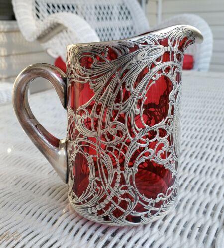 RARE ANTIQUE LA PIERRE STERLING SILVER OVERLAY CRANBERRY GLASS CREAMER PITCHER