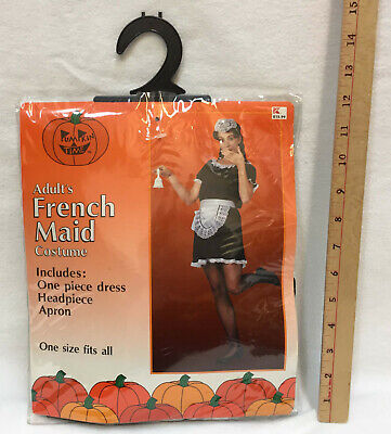 French Maid Halloween Costume Adult Woman One Size Fits All Dress Apron Hat