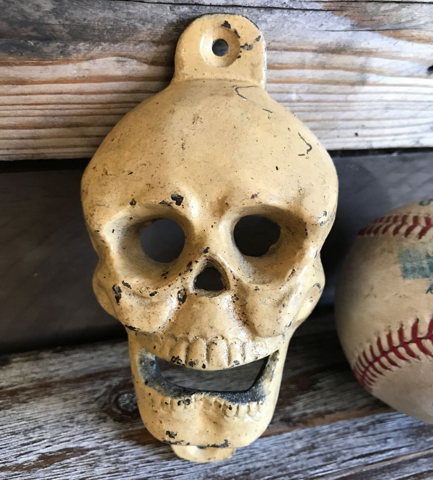 Antique Vintage Skull Cast Iron Bottle Opener Wall Mounted Pub Bar Man Cave Beer