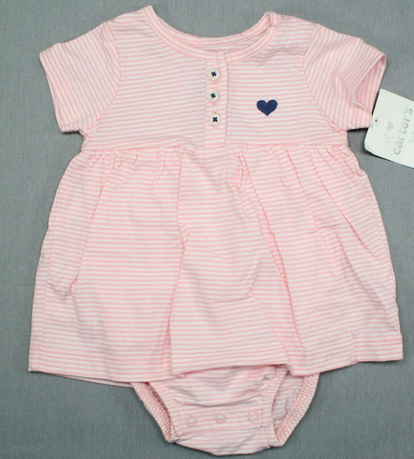 Baby Girl Clothes Vintage New Carter's 3 Month Pink White Striped Romper Dress