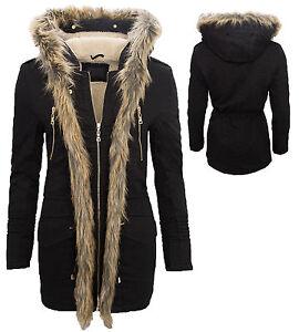 mujer-chaqueta-de-invierno-parka-abrigo-Sintetico-Piel-Capucha-Negro-d-71-S-XL